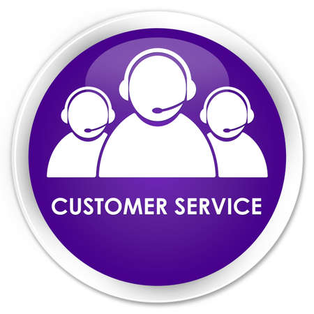 consultants: Customer service (team icon) purple glossy round button Stock Photo