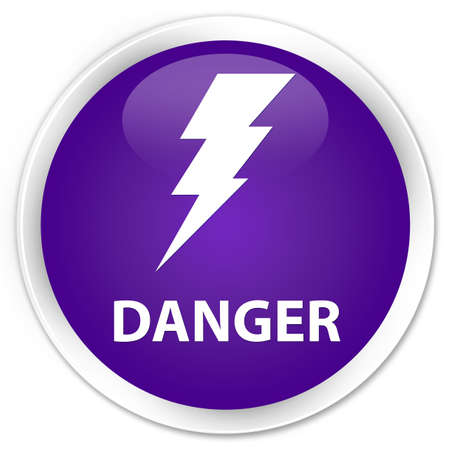 high voltage symbol: Danger (electricity icon) purple glossy round button