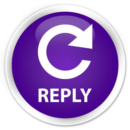 rotate: Reply (rotate arrow icon) purple glossy round button Stock Photo