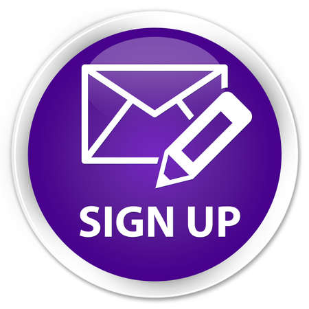 registry: Sign up (edit mail icon) purple glossy round button Stock Photo