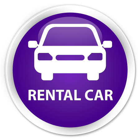 rental: Rental car purple glossy round button Stock Photo
