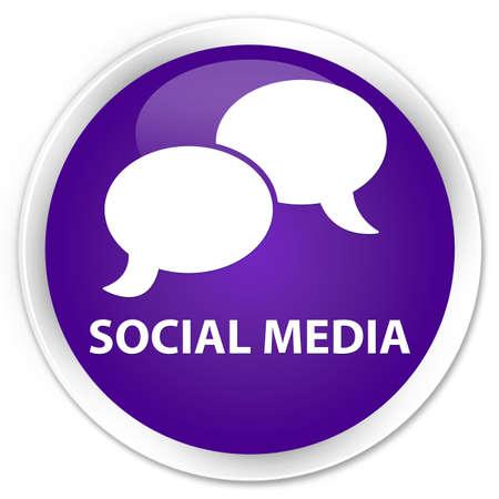 chat bubble icon: Social media (chat bubble icon) purple glossy round button