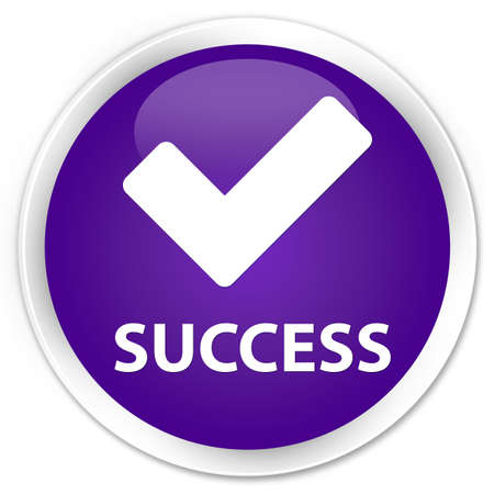 Success (validate icon) purple glossy round button