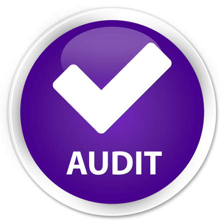 validate: Audit (validate icon) purple glossy round button Stock Photo