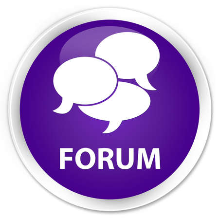 comments: Forum (comments icon) purple glossy round button Stock Photo