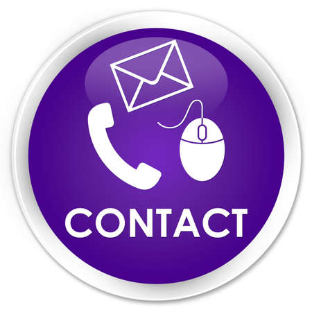email contact: Contact (phone, email and mouse icon) purple glossy round button Stock Photo