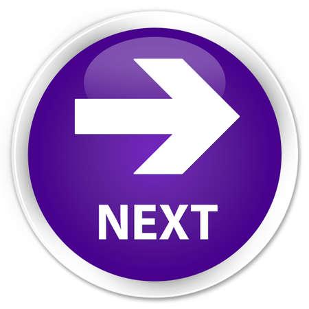 go forward: Next purple glossy round button Stock Photo