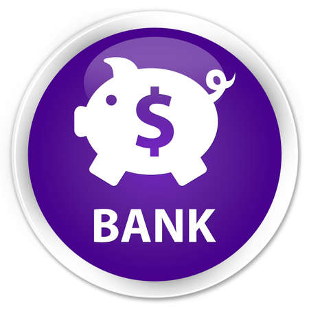economical: Bank (piggy box dollar sign) purple glossy round button