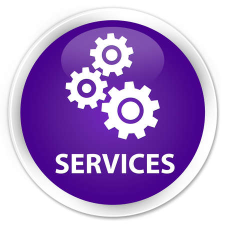 preference: Services (gears icon) purple glossy round button Stock Photo