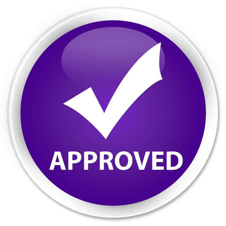 validate: Approved (validate icon) purple glossy round button