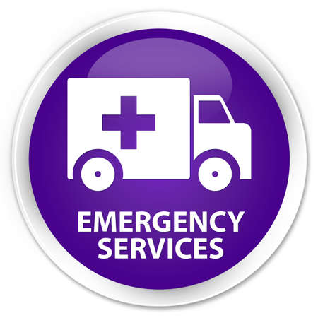 emergency services: Emergency services purple glossy round button