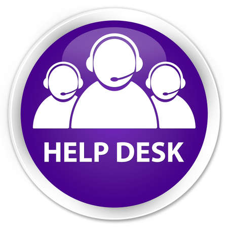 help desk: Help desk (customer care team icon) purple glossy round button