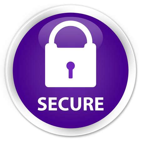 key hole shape: Secure (padlock icon) purple glossy round button Stock Photo
