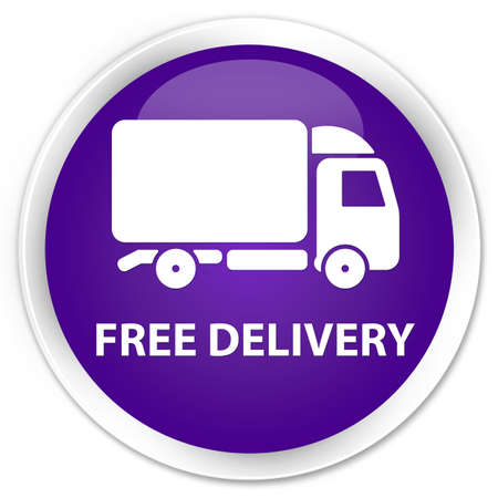 round: Free delivery purple glossy round button Stock Photo