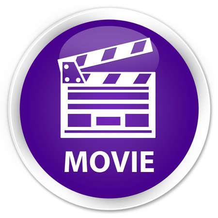 Movie (cinema clip icon) purple glossy round button