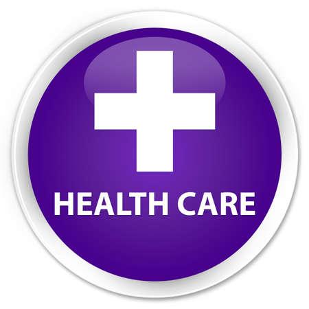 diagnose: Health care (plus sign) purple glossy round button