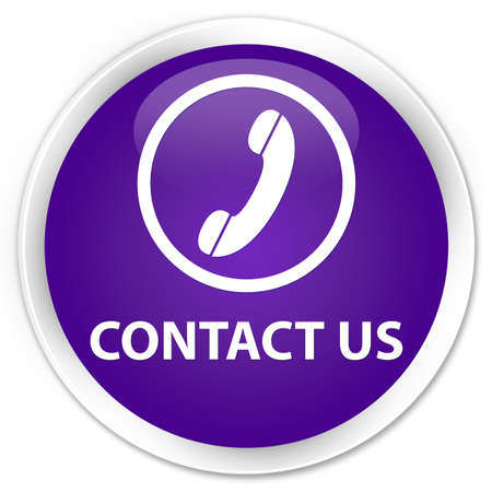 contact us phone: Contact us (phone icon round border) purple glossy round button
