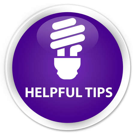 helpful: Helpful tips (bulb icon) purple glossy round button