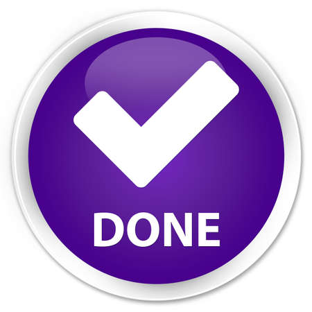 done: Done (validate icon) purple glossy round button