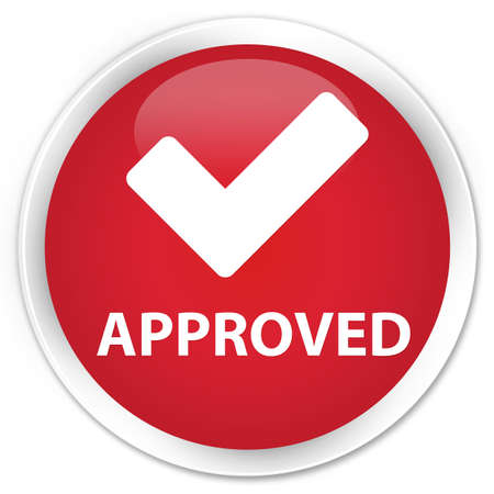 validate: Approved (validate icon) red glossy round button Stock Photo