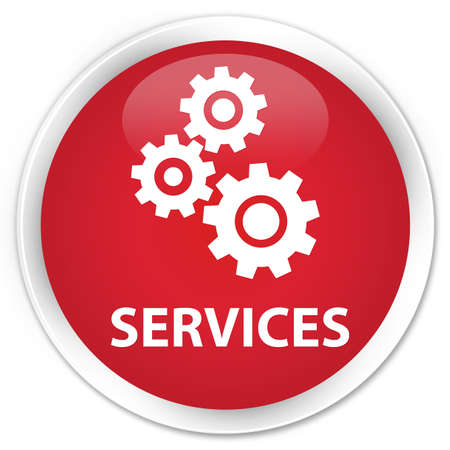 preference: Services (gears icon) red glossy round button Stock Photo