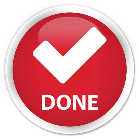 validate: Done (validate icon) red glossy round button Stock Photo