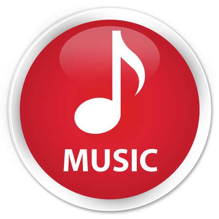 round: Music red glossy round button