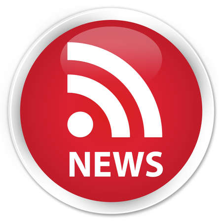 news current events: News (RSS icon) red glossy round button Stock Photo