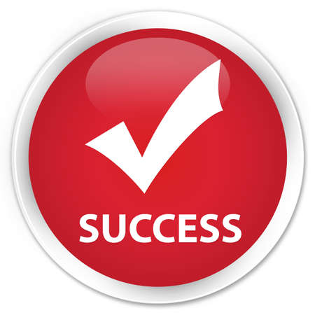 validate: Success (validate icon) red glossy round button Stock Photo