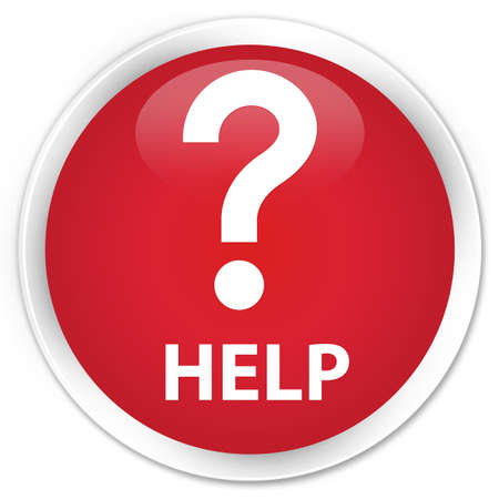icon red: Help (question icon) red glossy round button