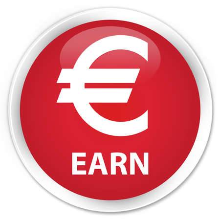 earn: Earn (euro sign) red glossy round button