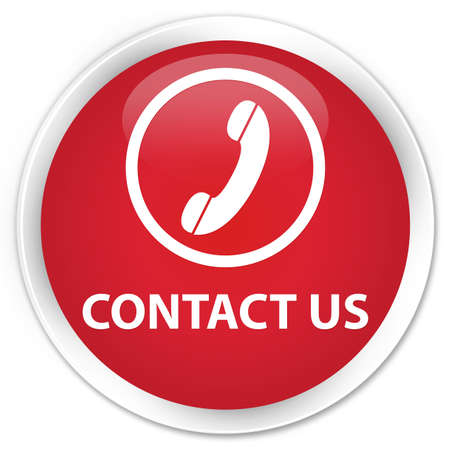 phone button: Contact us (phone icon round border) red glossy round button