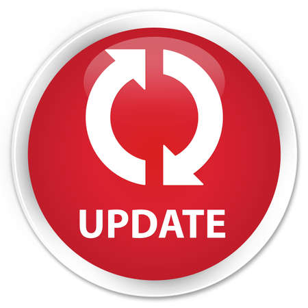 update: Update red glossy round button Stock Photo