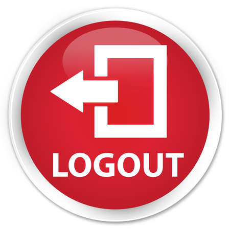 log off: Logout red glossy round button Stock Photo