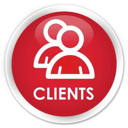 Clients (group icon) red glossy round button