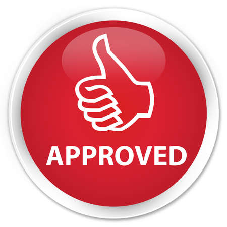 thumbs up icon: Approved (thumbs up icon) red glossy round button
