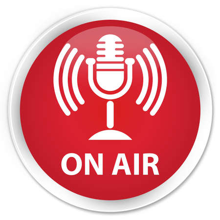 talk show: On air (mic icon) red glossy round button