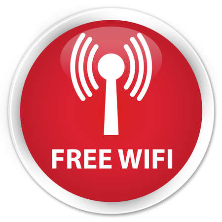 wlan: Free wifi (wlan network) red glossy round button