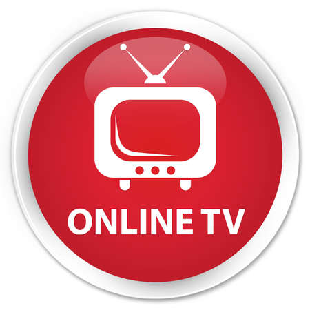 tv station: Online tv red glossy round button