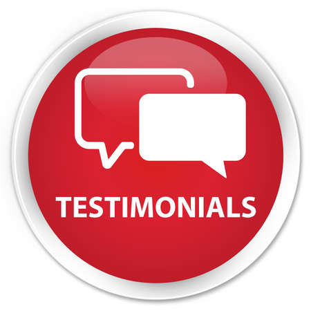 authenticate: Testimonials red glossy round button Stock Photo