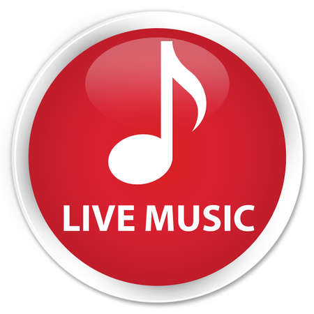live music: Live music red glossy round button