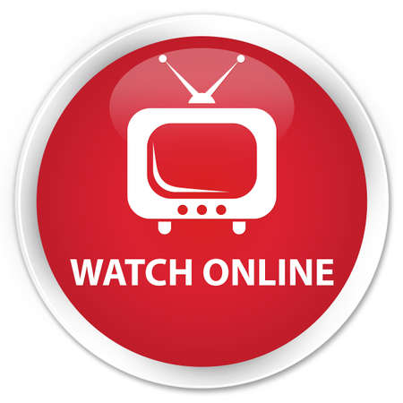 tv station: Watch online red glossy round button Stock Photo