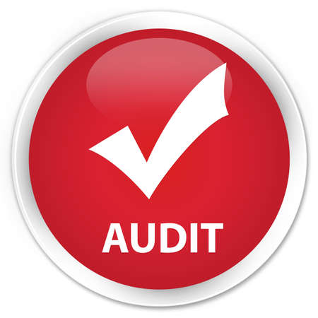 validate: Audit (validate icon) red glossy round button