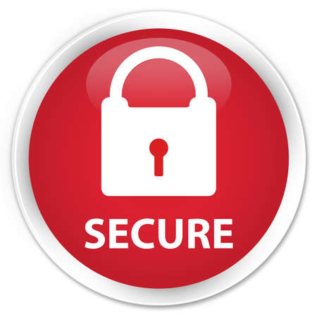 safeguard: Secure (padlock icon) red glossy round button