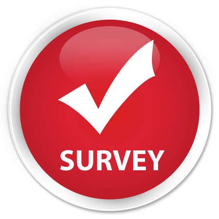 allow: Survey (validate icon) red glossy round button Stock Photo