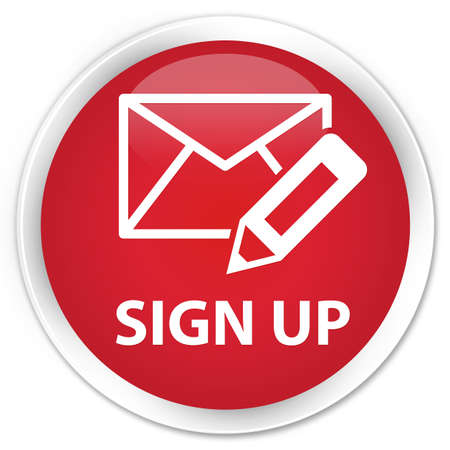 registry: Sign up (edit mail icon) red glossy round button Stock Photo