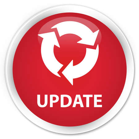 icon red: Update (refresh icon) red glossy round button Stock Photo