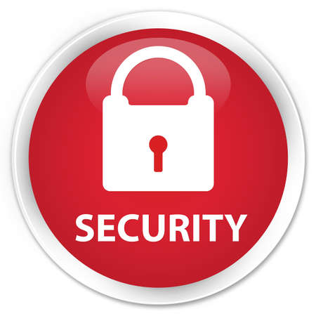 insecure: Security (padlock icon) red glossy round button