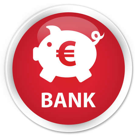 economical: Bank (piggy box euro sign) red glossy round button Stock Photo