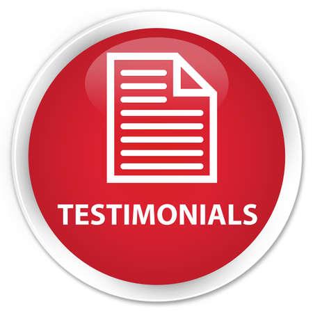 round: Testimonials (page icon) red glossy round button Stock Photo